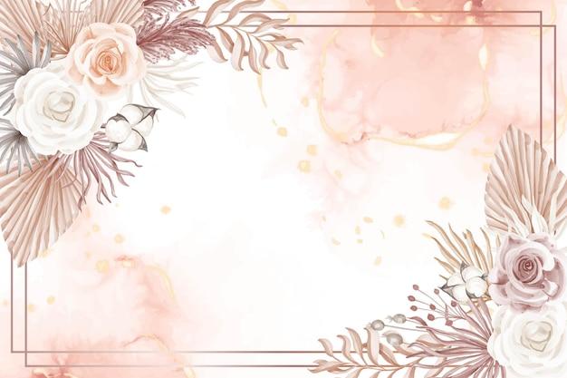 Eleganz boho style pink rose flower background