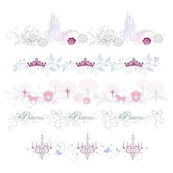 Eleganz-prinzessin-grenzillustration mit palast- und blumendesign