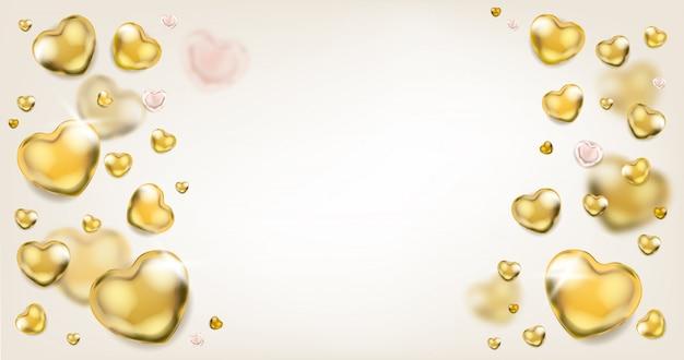 Eleganzhintergrund mit goldenen herzen
