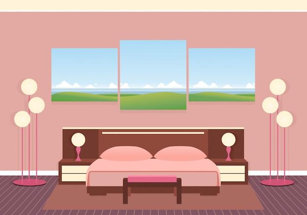 Eleganzschlafzimmerinnenraum mit möbeln, lampen und zusammengesetztem bild. flache vektor-illustration