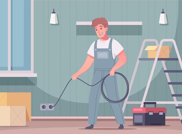Elektriker-cartoon-komposition mit blick auf wohnzimmer und doodle männlicher handwerker, der stromkabel hält