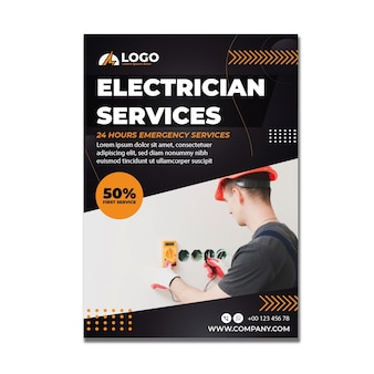 Elektriker-flyer-vorlage mit foto
