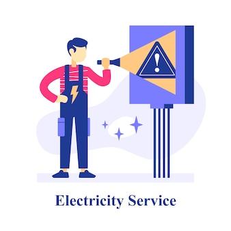 Elektriker hält taschenlampe, schalter raumplan inspektion, elektrische ausrüstung oder systemwartung, stromreparaturservice mann, lösung elektrischer probleme, behebung von stromausfall