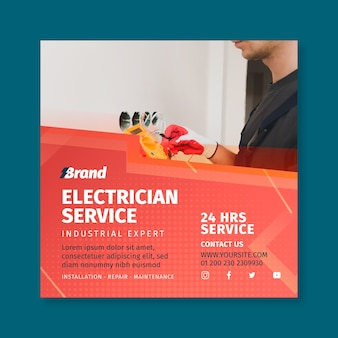 Elektriker service quadrat flyer vorlage