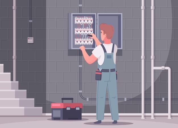 Elektrikerkarikaturkomposition mit innenansicht des treppenhauses und des mannes in der uniform