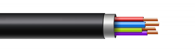 Elektrisch leuchtender blitz zwischen kabelbruch.