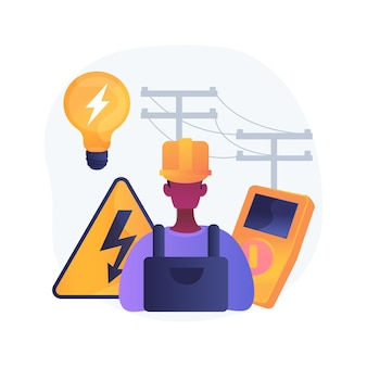 Elektrische dienstleistungen abstrakte konzeptillustration. energieeffiziente beleuchtung, wartung und inspektion der elektrischen anlage, hausautomation, reparatur der elektrischen heizung