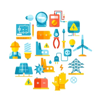 Elektrische energie flach symbole