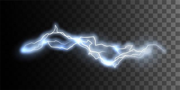 Elektrische entladung lokalisiert auf kariertem transparentem hintergrund. elektrischer visueller effekt für das design. blitzschlag oder blitz natürliche wirkung