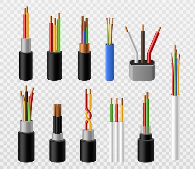 Elektrische kabel. industrieller kupferstrom-industriedraht, bunte 3d-telefon-internet-leiter. elektrische anschlüsse der spannung, realistischer satz des stromvektors lokalisiert auf transparentem hintergrund