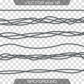 Elektrische kabel. realistische elektrische graue industriedrähte.