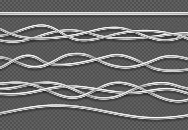 Elektrische kabel. realistische elektrische weiße industriedrähte