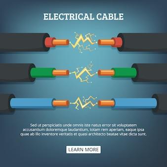 Elektrische kabeldrähte, unterschiedliche stromstärke und farben. vektorillustrationen in der karikaturart