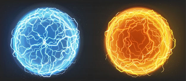 Elektrische kugeln, blaue und orangefarbene plasmakugeln