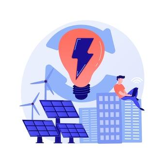 Elektrische ladung, stromerzeugung, lichtproduktion. weiblicher pc-benutzer mit elektrogerät-zeichentrickfigur. gerät wird aufgeladen