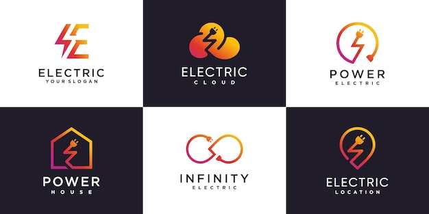 Elektrische logosammlung mit kreativem elementkonzept premium-vektor teil 1
