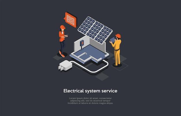 Elektrische service-system-anzeige illustration