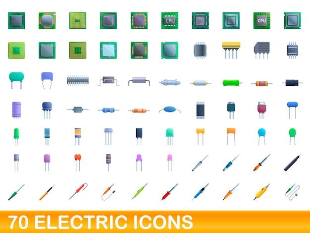 Elektrische symbole eingestellt. karikaturillustration von 70 elektrischen ikonen gesetzt auf weißem hintergrund