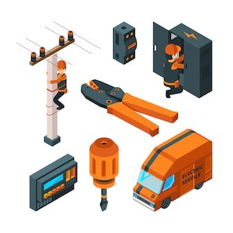 Elektrische systeme 3d. elektrizitätskastenschalter elektriker-sicherheitsarbeiter mit elektrowerkzeugvektor isometrisch