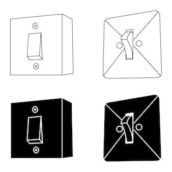 Elektrische wandmontierte schalter ausschalten im zeichen im glyphenstil für mobiles konzept und webdesign