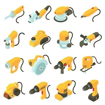 Elektrische werkzeugikonen eingestellt. isometrische karikaturillustration von 16 elektrowerkzeugvektorikonen für netz