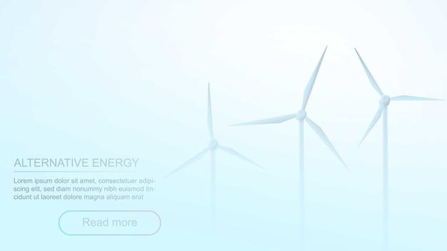 Elektrische windmühlen landschaft im nebel bei bewölktem wetter. 3d-geschäftskonzept. windpark in rauch