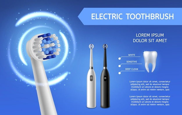 Elektrische zahnbürste. frische zahnreinigung mit elektrischen schwarzen oder weißen zahnbürsten produktpromotion-flyer. mundhygiene und zahnpflegevektorhintergrund mit kopienraum