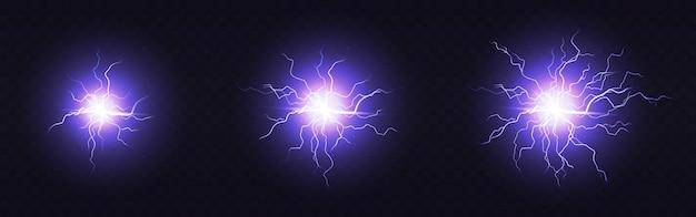 Elektrischer ball, runder blitz, blaue blitzkreise von kleiner, mittlerer und großer größe. magischer energiestreich, plasmakugel, leistungsstarke, elektrisch isolierte entladung blenden
