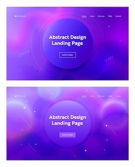 Elektrischer blauer abstrakter kreis form zusammensetzung landing page hintergrund. geometrischer rosa kurvenbewegungsgradienten-mustersatz. kreatives element für die website-webseite. flache karikatur-vektor-illustration