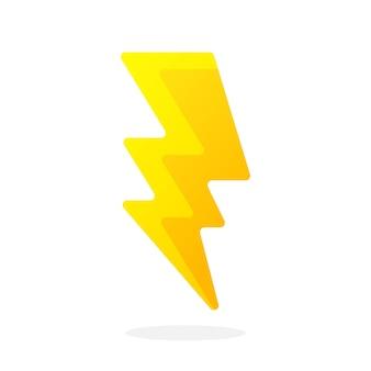 Elektrischer blitz auf weißem hintergrund vector illustration im flachen stil thunderbolt strike