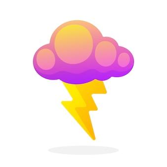 Elektrischer blitz mit wolke isoliert auf weißem hintergrund vektor-illustration