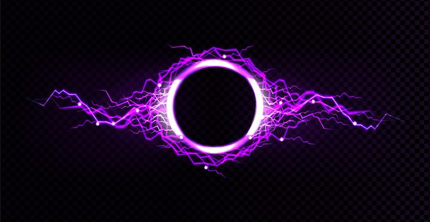 Elektrischer blitzkreis mit lila glüheffekt
