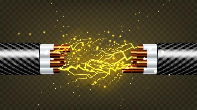 Elektrischer kabelbruch