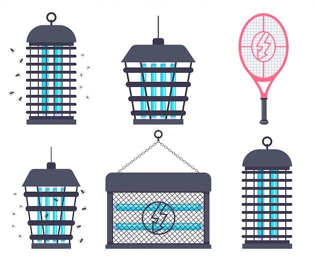 Elektrischer käferzapper, fliegenklatschenschläger und moskitofalle-vektor-cartoon-flachsatz isoliert.