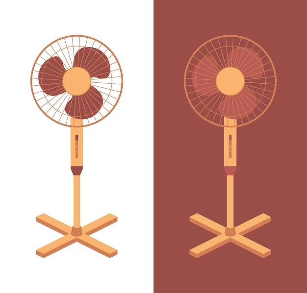 Elektrischer lüfter lokalisiert auf hintergrund. haushaltsgeräte für luftkühlung und klimatisierung, klimatisierung. abbildung in wohnung