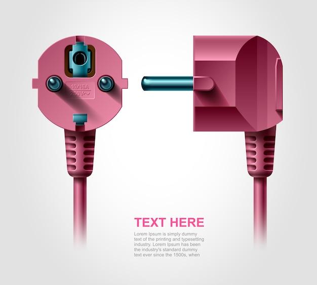 Elektrischer stecker, realistisches objekt