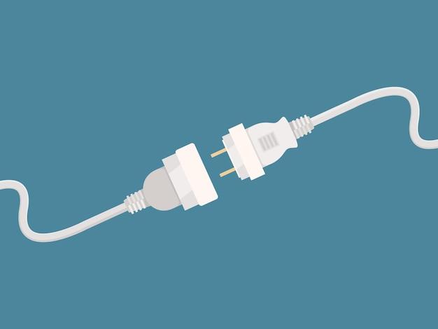 Elektrischer trennstecker. ziehen sie den stromanschlusskabelfehlerkonzeptbildvektor ab. stecker trennen strom, kabel keine verbindung, nicht angeschlossene stromversorgung abbildung