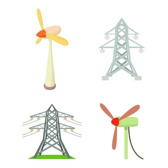 Elektrischer turm-icon-set