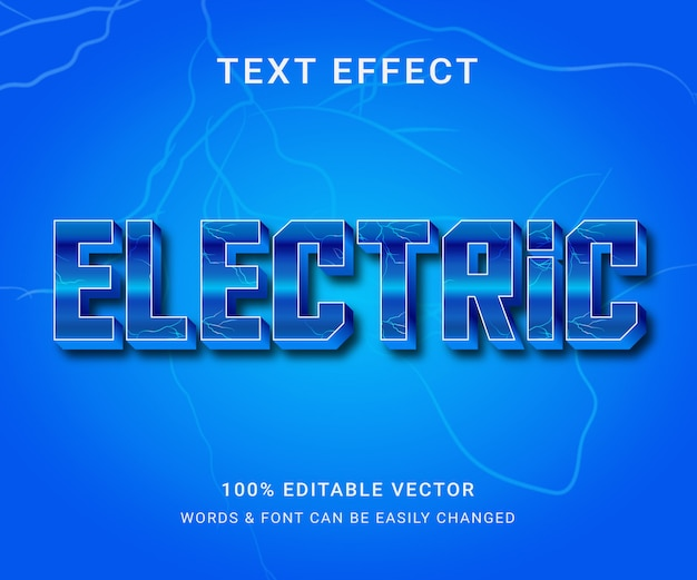Elektrischer voll bearbeitbarer texteffekt mit trendigem stil