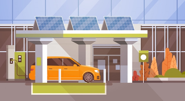 Elektrisches auto an freundlichem fahrzeug der ladestation eco in der stadt
