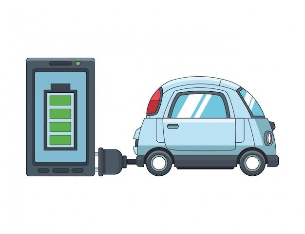 Elektrisches auto und smartphone