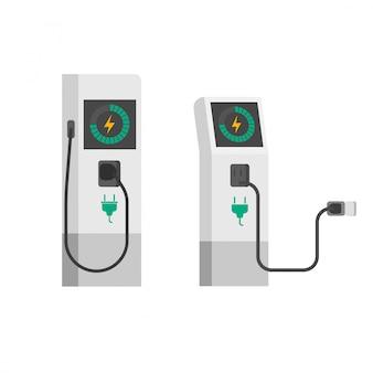 Elektrisches autoladegerät der flachen karikatur