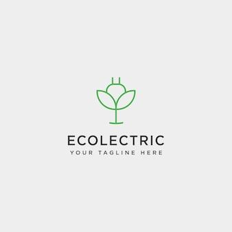 Elektrisches blatt einfache linie logo vorlage vektor illustration symbol element - vektor