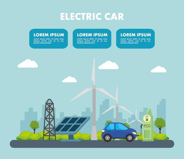 Elektrisches blaues auto mit solarpanelstation und windmühlenvektordesign
