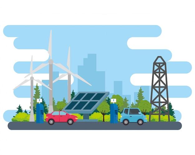 Elektrisches blaues und rotes auto mit solarpanelstation und windmühlenvektordesign