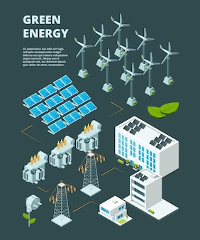 Elektrisches grünes kraftwerk. isometrisches konzept 3d der elektrischen kraftwerksenergienetzverteilung der industriestadt