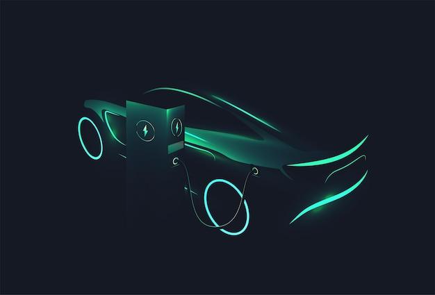 Elektrisches konzeptauto grün leuchtende silhouette, das an der ladestation auf dunklem hintergrund aufgeladen wird ev-konzept vektor-illustration