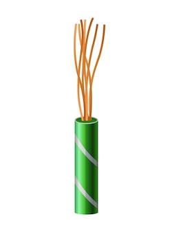 Elektrisches kupferkabel. elektrischen draht. anschlussstromkabel strom in realistischen farben für das netzwerk. hauptelement der elektroinstallationsarbeiten.