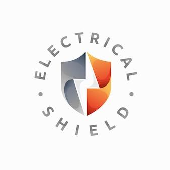 Elektrisches logo mit schildkonzept