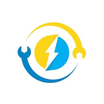 Elektrisches logo mit schraubenschlüsselsymbol